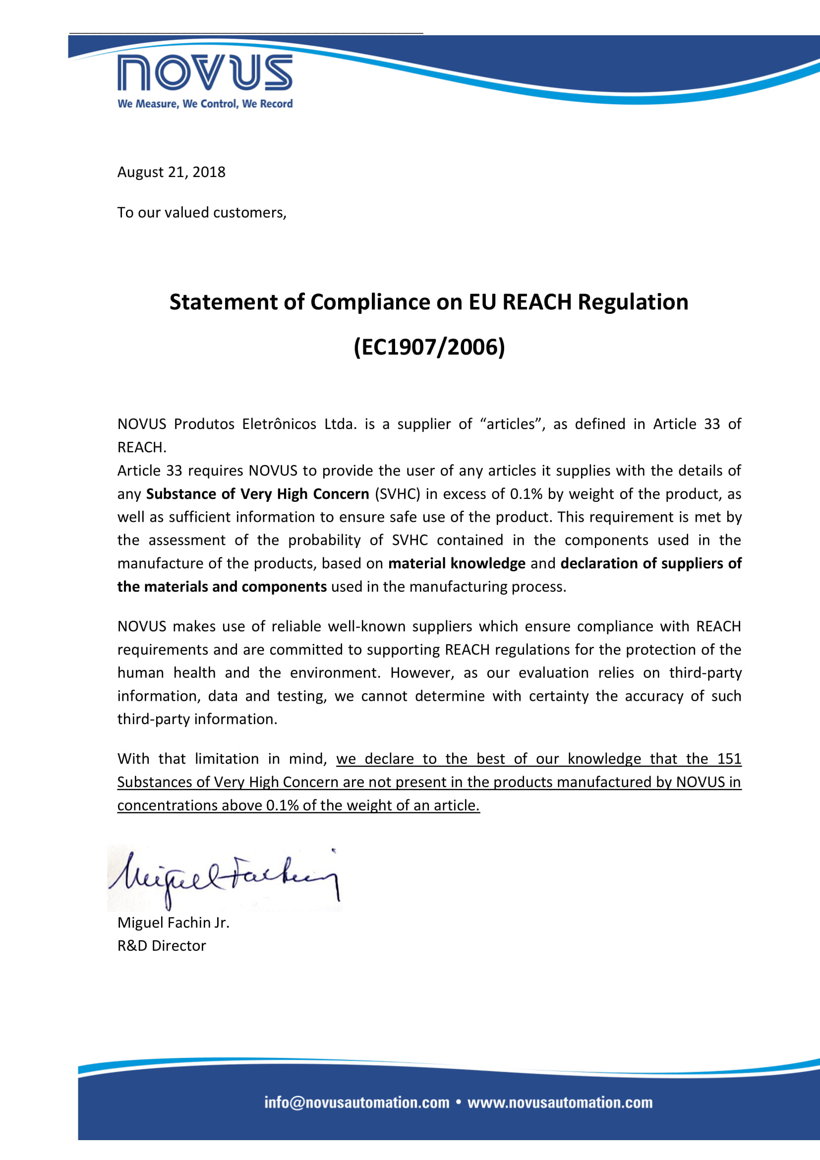 Novus Reach Declaration